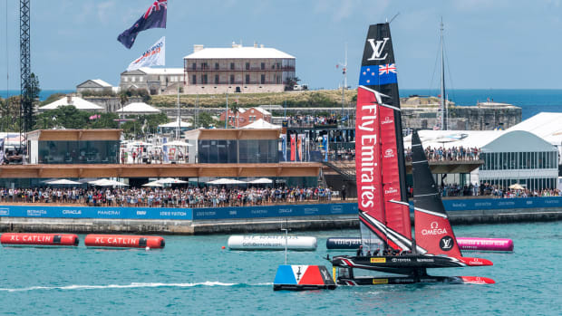 There are no bad seats at the finish line for the 35th America's Cup
