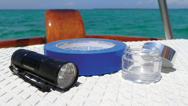 The author found the components of his makeshift anchor light already on board