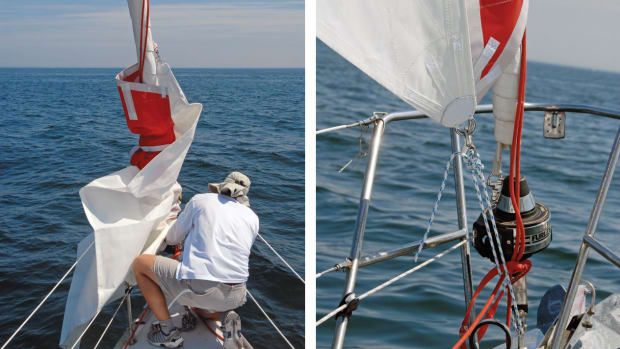 It is best to practice rigging it in calm conditions (far left). You can adjust tack height to suit your boat (left)