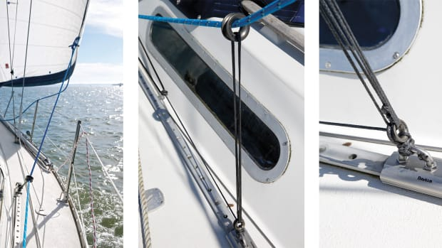 The new genoa lead in action—a successful upgrade (left); The low-friction ring sheet lead in action (middle); Two new genoa cars had to be purchased (right)
