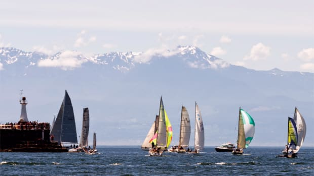 The R2AK fleet sets out from Victoria, British Columbia, at the start of the long leg to Ketchikan, Alaska