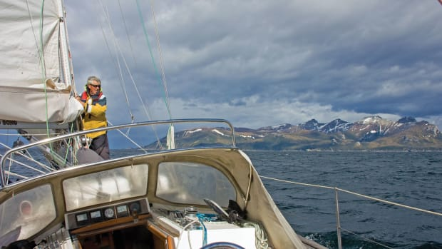 The author tends to the main southbound off the coast of Argentina. Photo courtesy of Chris Eakin