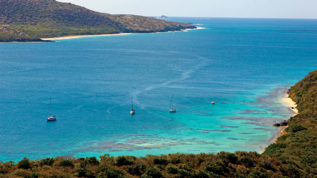 A busy day at Culebrita's main anchorage