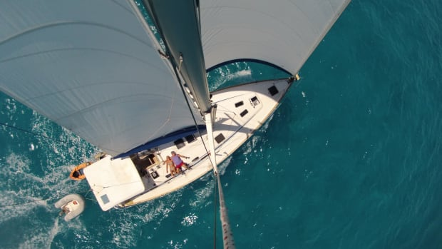 "This was taken during a ""rough sail"" from Tortola to Anegada in the BVIs aboard our Bavaria 50, Moby. —Pete & Lyn Pierce"