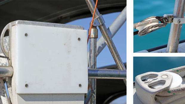 The author made an outboard-engine mount out of aluminum and marine plastic lumber, seen here, along with a furling lead stanchion clamp (top right), a jib sheet sheave (middle right) and a fuel port spacer (below right)