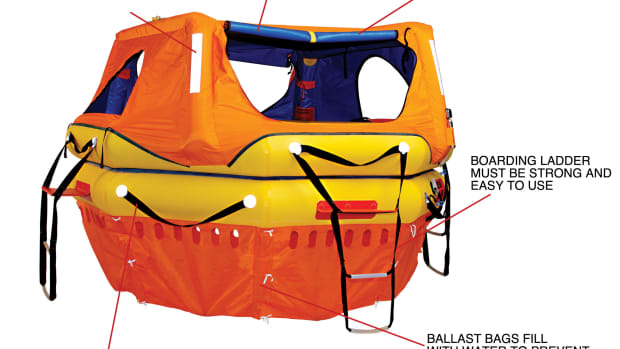 OCEAN LIFERAFT: A raft intended to last days or weeks on the open ocean needs to be strongly constructed, highly visible and easy to board