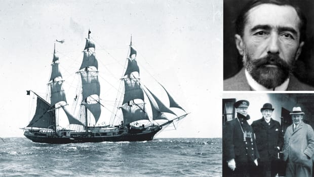 Three-masted_ship_JOSEPH_CONRAD_leaving_Sydney_Harbour_(9460194435)