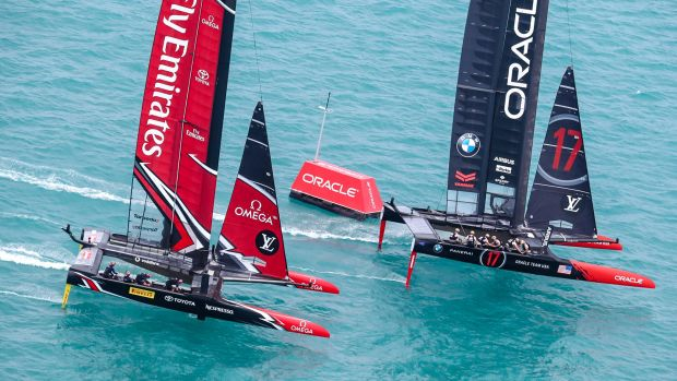 By prevailing over Emirates Team New Zealand on Saturday, Oracle Team USA not only won the race but the entire qualifying series. © ACEA 2017 / Photo Gilles Martin-Raget