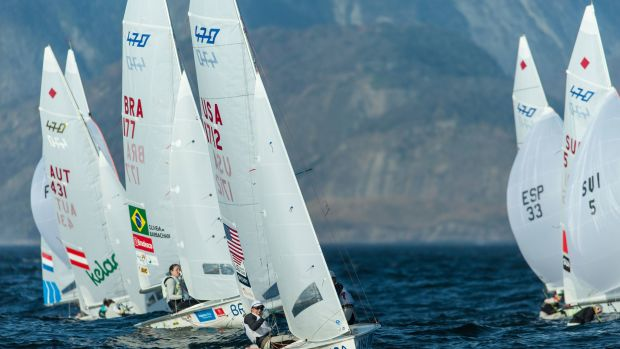 U.S. Olympians Briana Provancha (to leeward) and Annie Haeger lead the 470 fleet during the 2015 Olympic Test Event in Rio