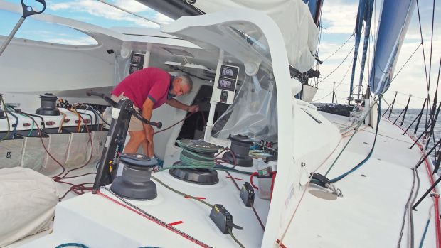 American sailor Rich Wilson goes through the paces onboard Great American IV in preparation for the Vendée Globe