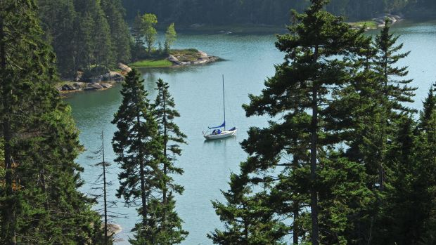 Leight rests easy in the quiet anchorage of Three Eagle Cove in The Basin on Maine's Vinalhaven Island.