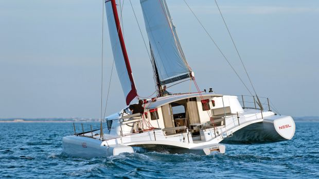The Neel 45 La Caravelle was the first multi across the line in the 2015 ARC. Photos courtesy of Neel Trimarans; World Cruising Club
