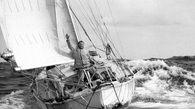 Robin Knox-Johnston and Suhaili at the finish of the first Golden Globe race. Photo courtesy of Bill Rowntree/PPL
