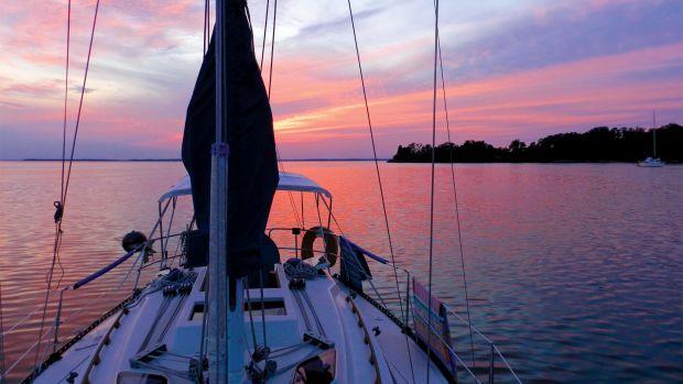 The sun sets over Chesapeake Bay
