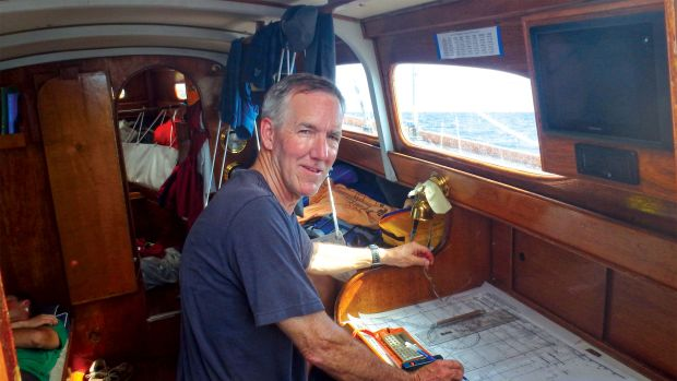 The author plots his boat's position the old-fashioned way en route to Bermuda