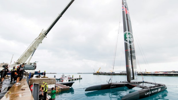 The Land Rover BAR team launches its spanking-new AC50 in Bermuda
