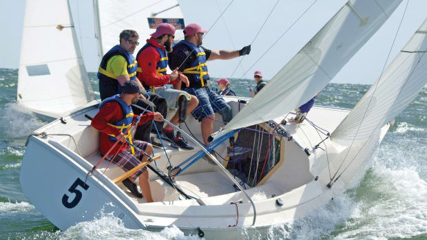 The Warrior Sailing Team in training for last year's Disabled National Championship regatta.