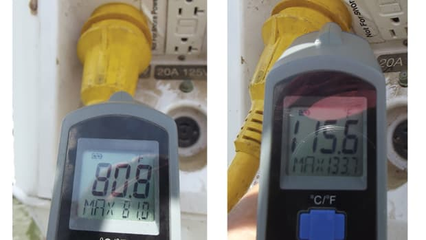 Photo 6a & 6b. An infrared thermometer can diagnose poor connections and resistance in the circuit