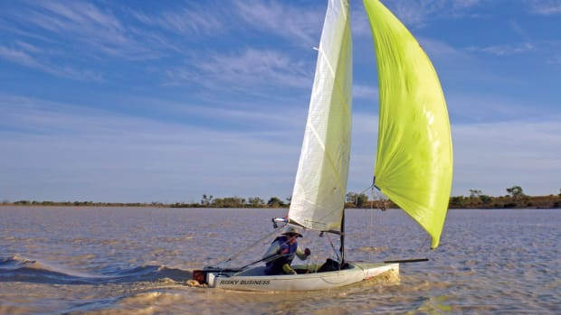 A competitor sails the muddy waters of the Australian Outback. Photo courtesy of the Lead South Australia