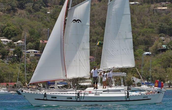 Stewart, Zaya and Tuya wave as Luckyfish sails away