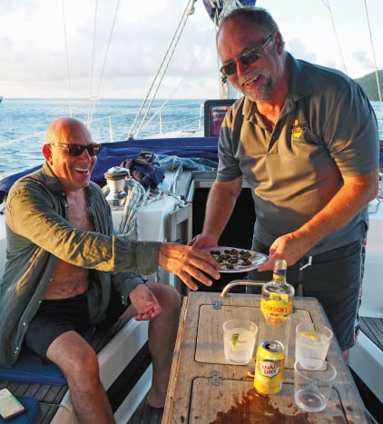 Cocktails, canapes and a tropical anchorage—it doesn't get much better