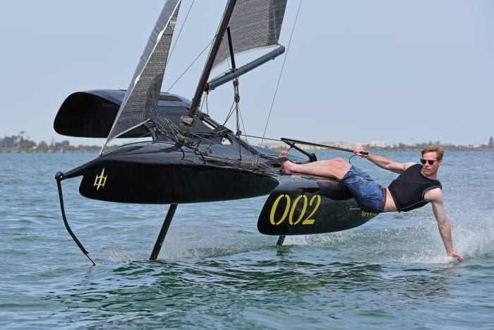 Though it soars like an eagle, the large amas on the Flying Mantis tri make it gentle as a lamb when sailing in displacement mode