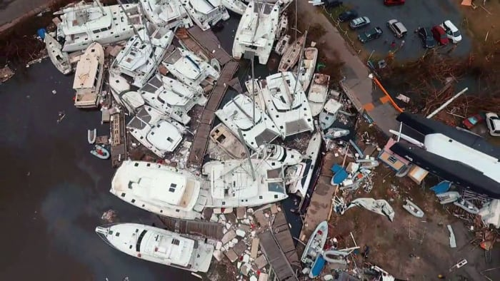 Nanny Cay Marina where the Meyers' lived on their boat, immediately after Hurricane Irma