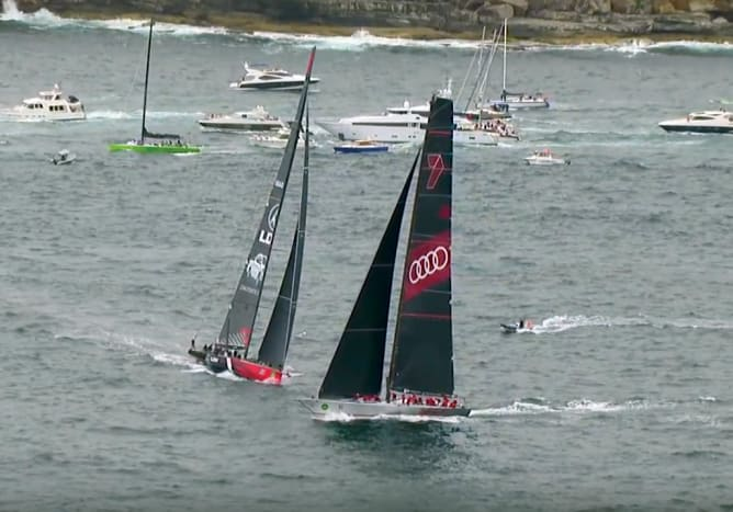 A series of video stills shows just how close it was; note how LDV Comanche is forced to luff up in the final frame to avoid hitting Wild Oats XI's transom