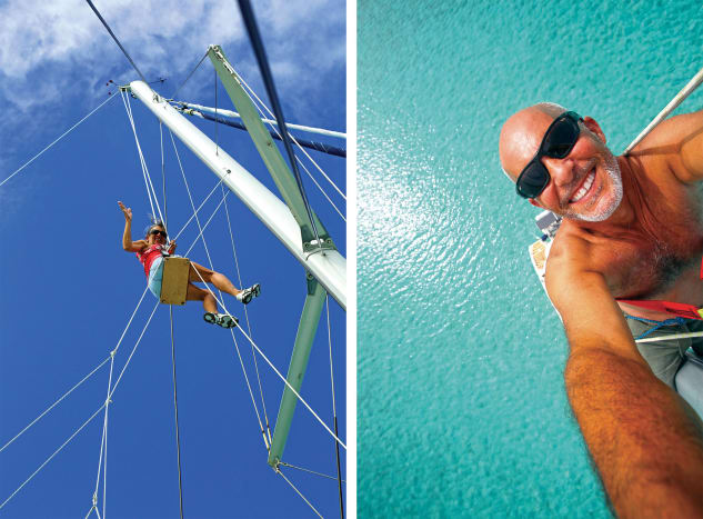 Debbie makes her way up the mast, putting the bosun's chair to good use;Eric enjoys a different point of view.