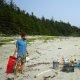 Sorting through beach plastic