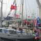 Ursus Maritimus is just one of many boats displaying years worth of brag flags