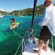 """Okay, captain!"" Boatboys find us a mooring in Bequia"