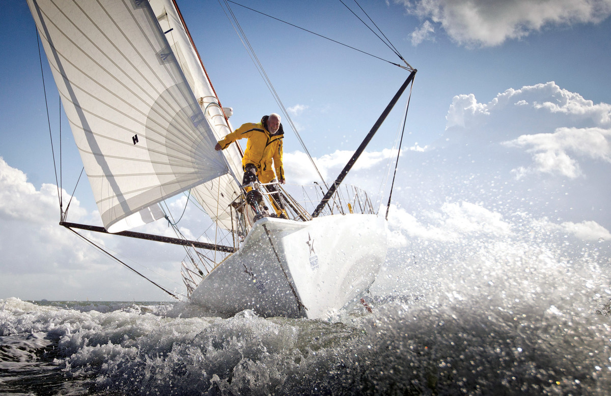 In 2014, at the age of 75, Knox-Johnston sailed his Open 60, Grey Power, in the Route du Rhum —singlehanded