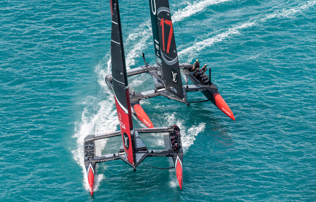 Oracle Team USA spent of a lot of this past weekend with a clear view of Emirates Team New Zealand's transoms
