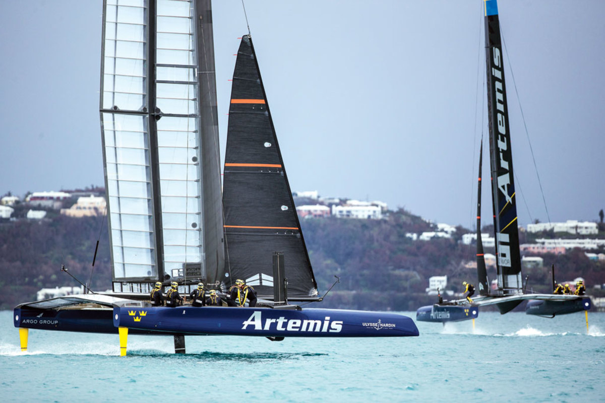 Artemis Racing's two AC45 'turbos' dueling in Bermuda: note the fairings and flared topsides