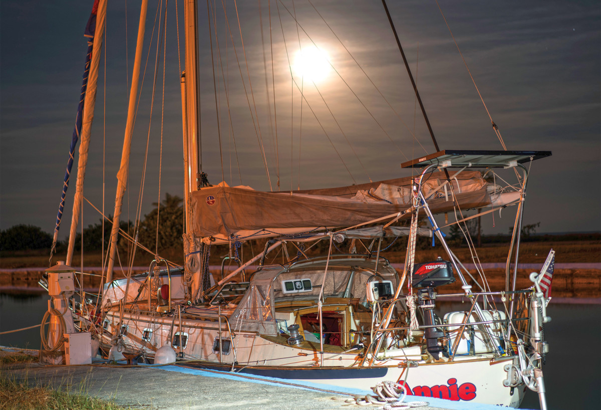 Annie at rest in moonlight in Marina Hemingway