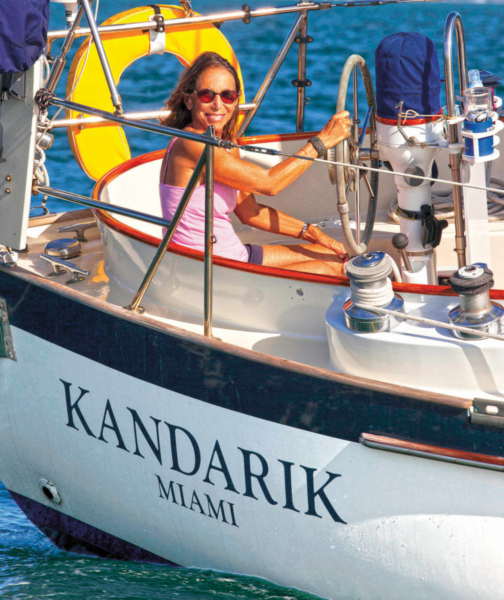 Pam Wall at the helm of her beloved Kandarik
