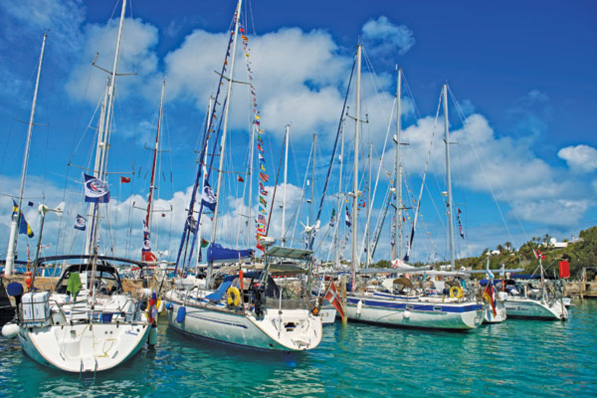 The rally fleet filled the docks at the St. Georges Dinghy Club during their stay in Bermuda