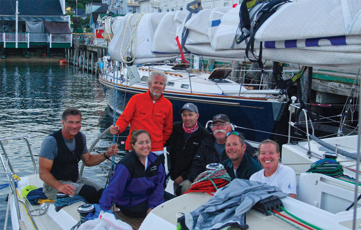 Safe and sound at Mackinac Island (from left) Rich, Amanda, Ritchie, the author, Bill, John and Lori celebrate a job well done