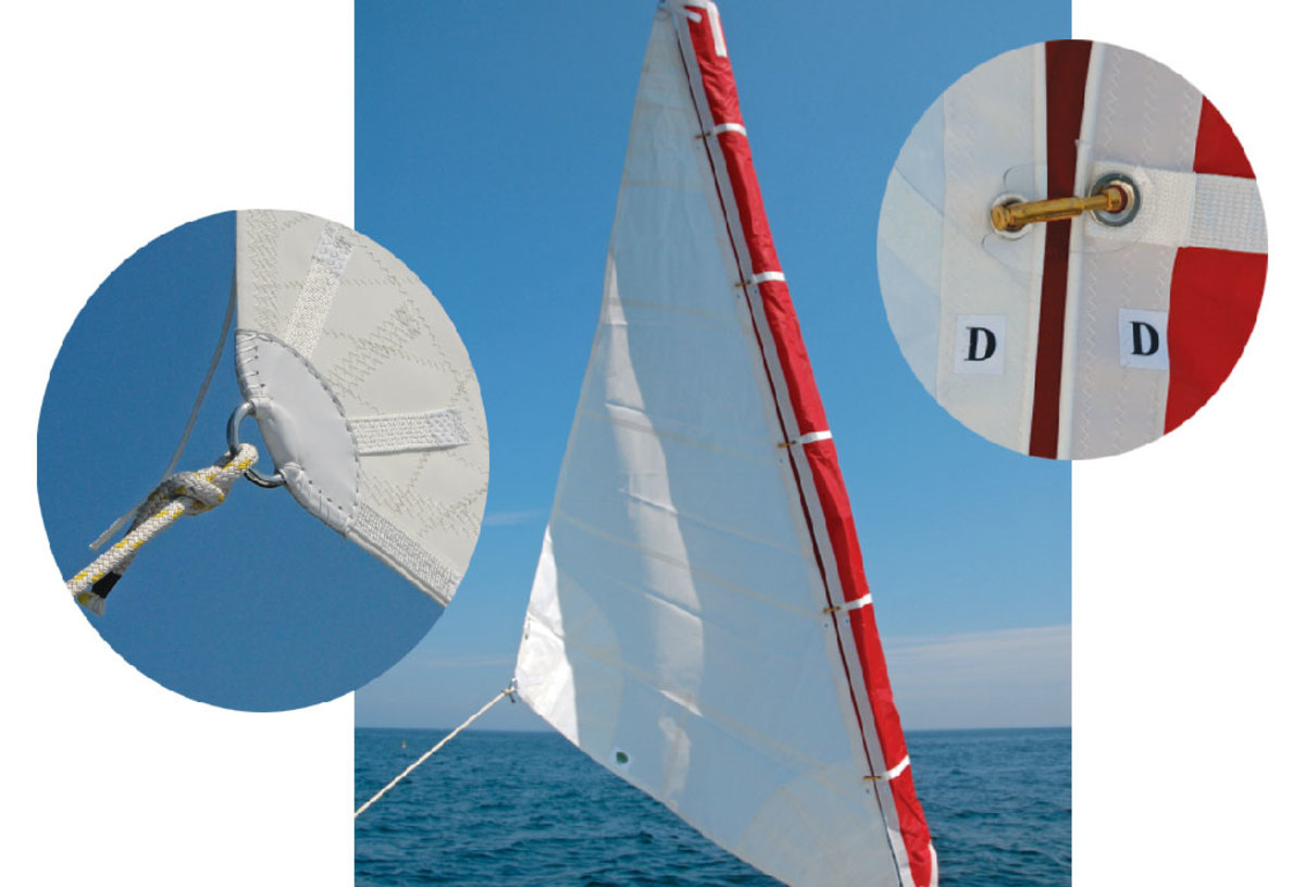 Luff grommets and hanks are keyed to avoid error. The clew is as bulletproof as the rest of the sail.