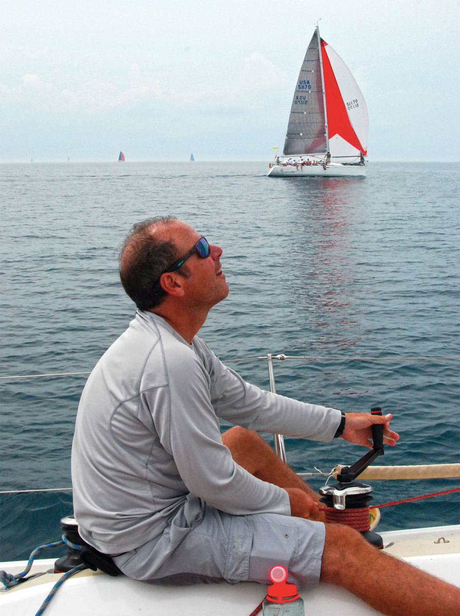 John trims the Code 0 early on in the race before the first of the storms hit