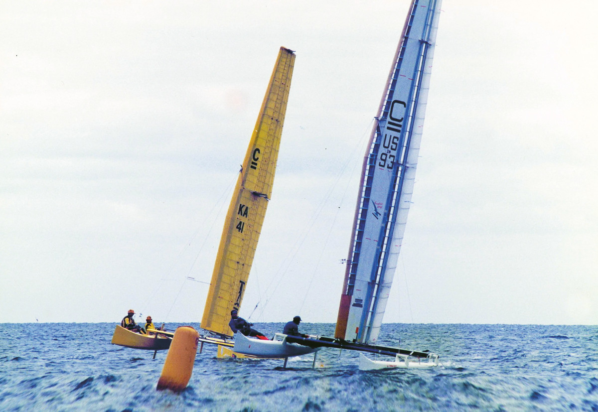Early on Melvin raced a Morrelli-designed C Class catamaran in the 1990 Little America's Cup