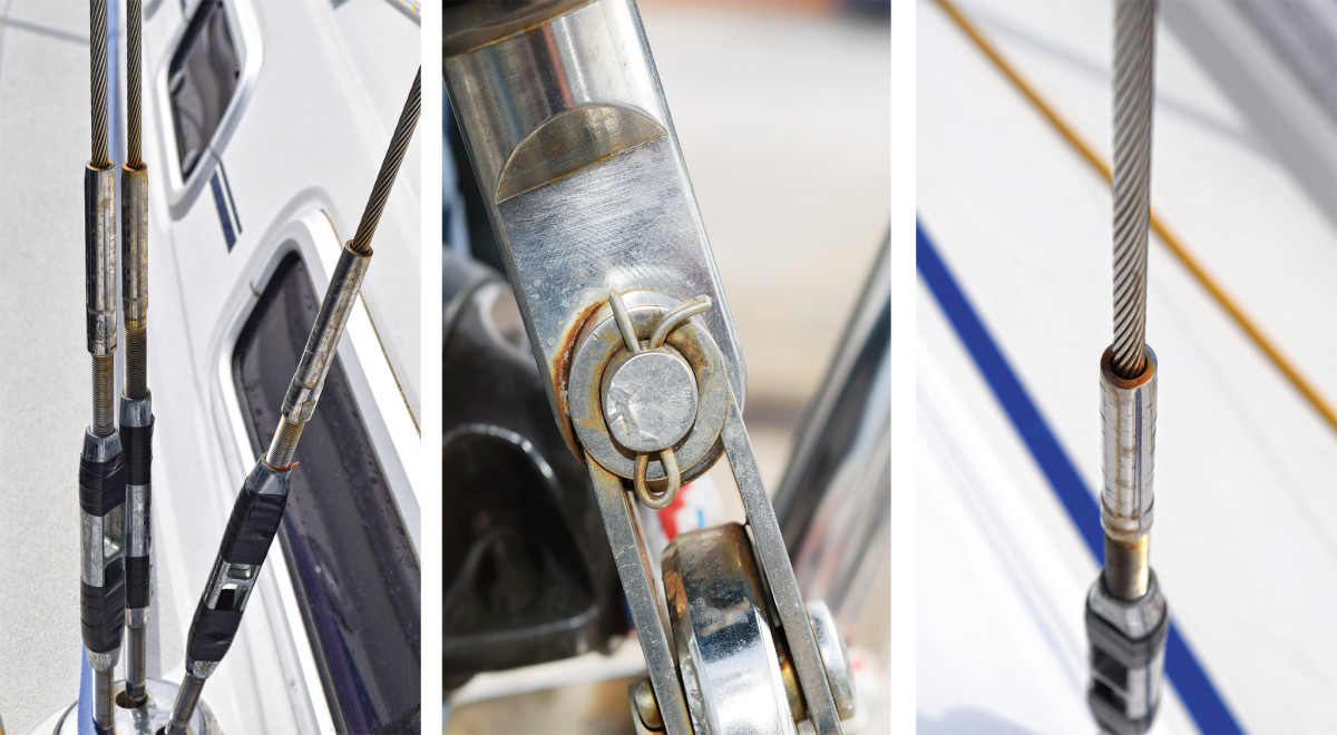 From left: remove any tape on turnbuckles and check for corrosion; make sure split pins are in place and in good shape; rust where the rigging wire enters the terminals is not a good sign