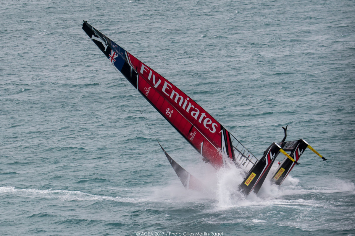 Louis Vuitton America's Cup Playoffs Semi-Finals, Day 3  - Emirates Team New Zealand Capsize. Photo by Gilles Martin-Raget