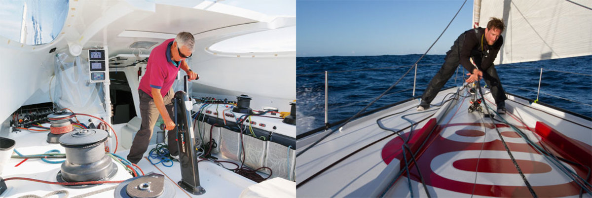 In addition to trimming sails, Wilson will be staying in touch with thousands of school kids (left); Colman brings a wealth of offshore experience to this year's race (right)
