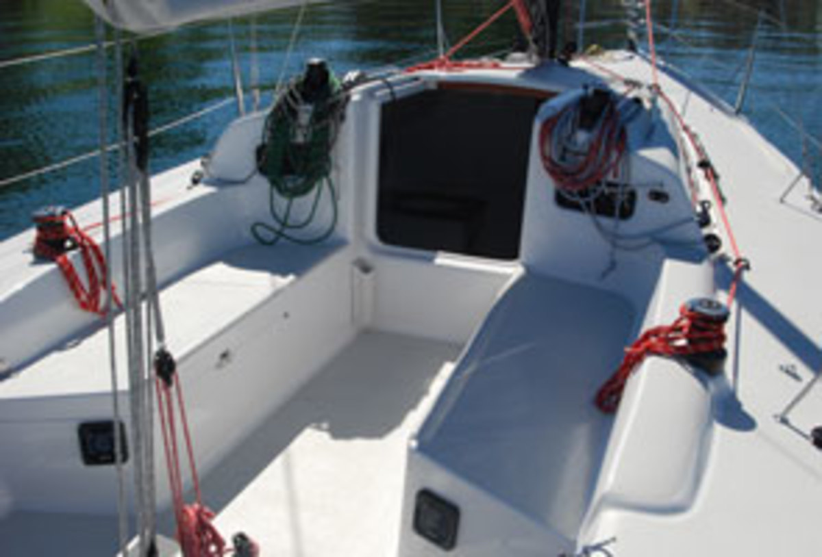 The well-thought-out deck cockpit and deck layout are vintage J/Boats