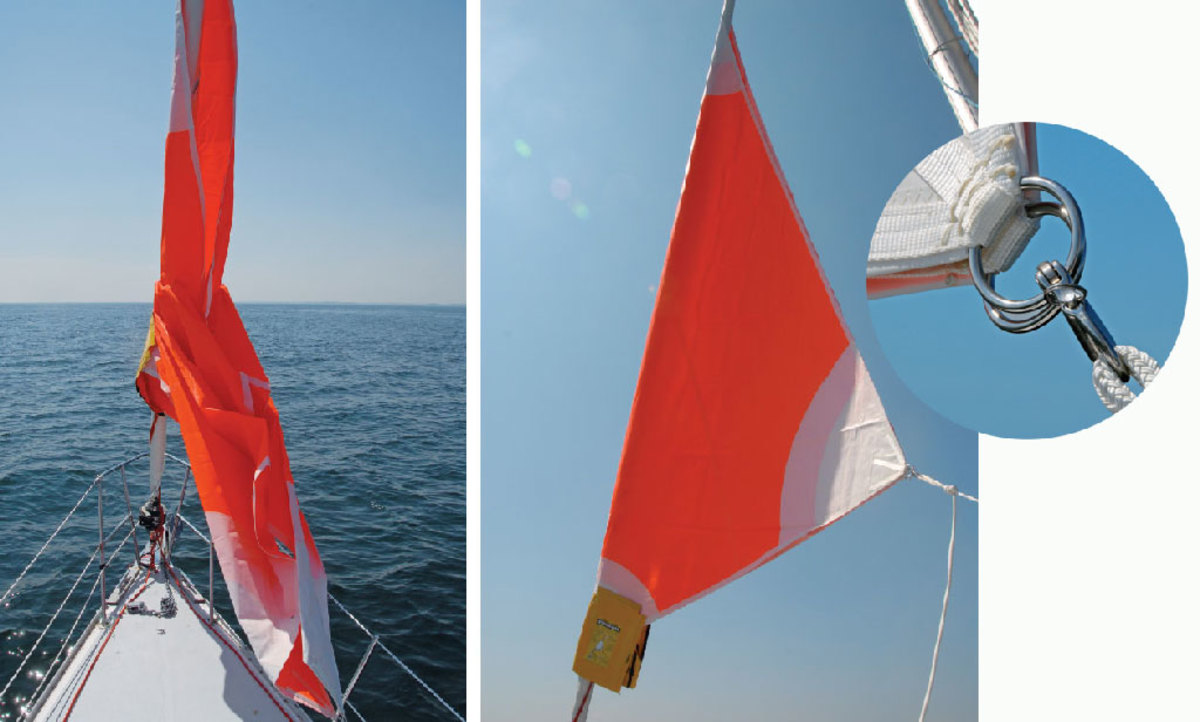 A tug on the sheets and halyard breaks the Velcro's grip. Right: the sail sets well and is robustly built