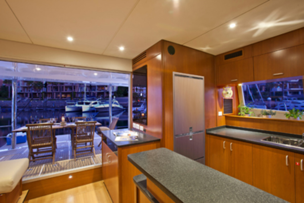 The galley is well appointed, with easy access to the aft deck