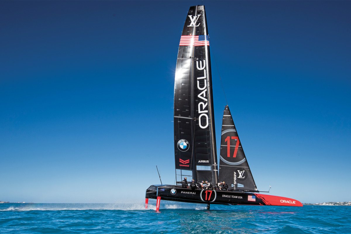 Oracle Team USA puts its ACC boat through its paces on Bermuda's Great Sound, site of the upcoming America's Cup regatta. Photo courtesy of Sam Greenfield/Oracle Team USA