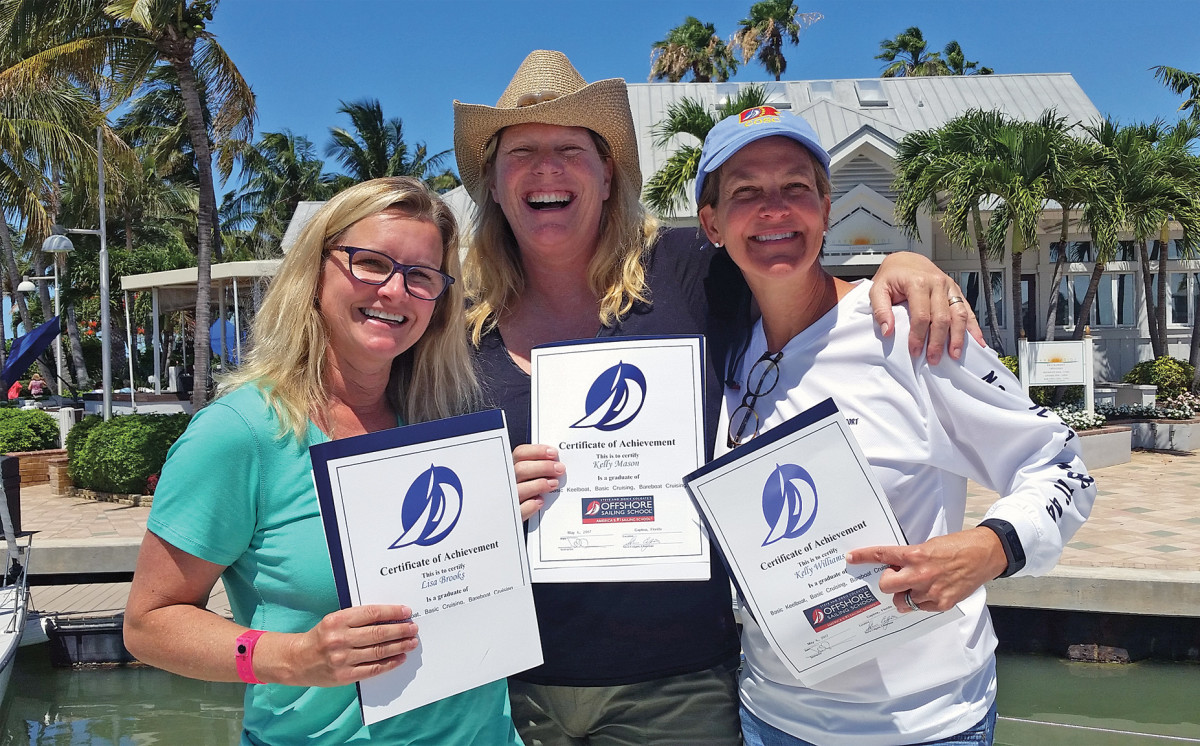 the catamaran crew shows off its well deserved certificates of completion